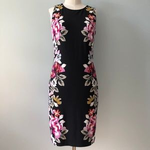 WHBM Black and Floral Sleeveless Shift Dress